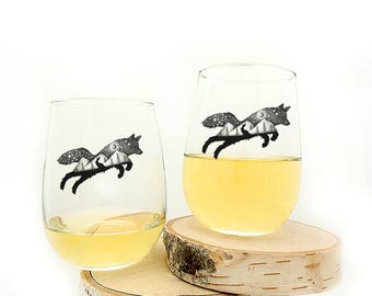 Wine Glasses - Fox and Hare - Stemless Wine Glasses - Set of Two Wine Glasses 17oz.