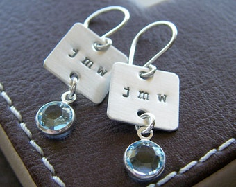 Personalized Initial Earrings - Hand Stamped Sterling Silver - Square Charms with Monograms and Birthstones or Pearls