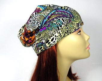 Paisley Print Silky Lycra Slouchy Beanie Reversible Slouchy Beanie Bohemian Beanie Black Beanie Light Weight Slouch Hat Womans Slouchy Hat