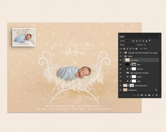 Digital backdrop - PSD file with layers - White single Iron bed chair with stars  - Beautiful Digital background