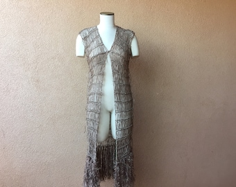 Knit Accessories Long Vest, Long Knit Dress Taupe Tunic, Light Brown Beige, Tan Neutral Sleeveless Fringe Duster