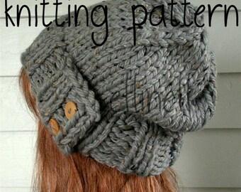 Knit Hat PATTERN, Easy Slouchy Beanie Beret, Instant Download - Chunky, winter, ski, urban, boho, vegan, teen