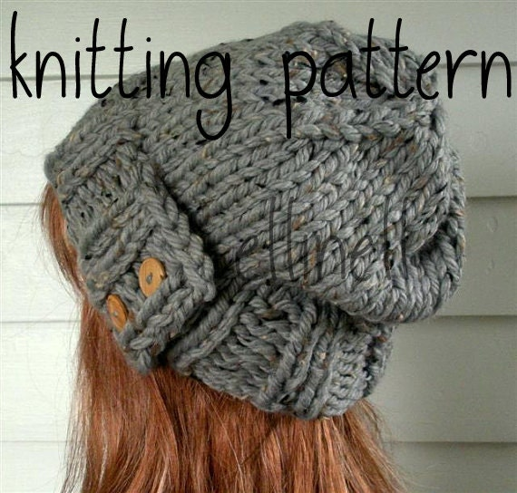 Knit Hat Pattern Easy Slouchy Beanie Beret Instant Download
