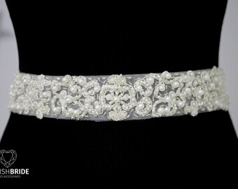 Luxury 4 cm/1.6 in Pearl Crystal Lace Bridal Belt, Lace Wedding Belt, Bridal Sash, Bridal Accessories, Bridal Belt, Lace Wedding Belt F102