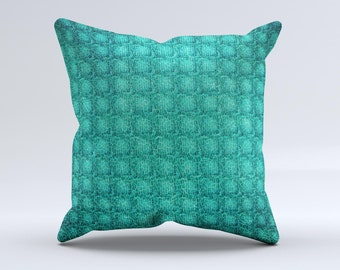 The Green Wavy Abstract Pattern ink-Fuzed Decorative Throw Pillow