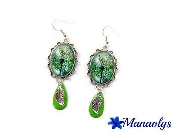 Oval motifs and blue flowers, dandelion, enamel charms green earrings, cabochons glass 3213