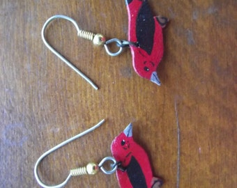 Vintage hand cut and painted leather earrings - Scarlet Tanager Bird