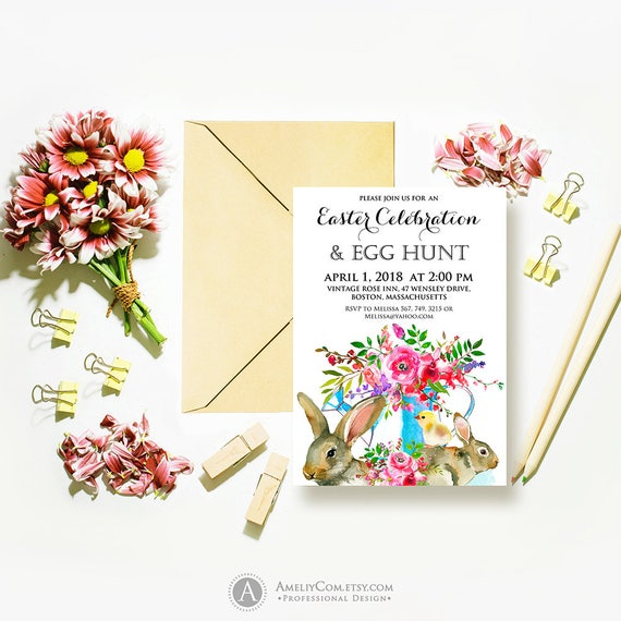 Easter Celebration  Egg Hunt Invitations Printable Happy