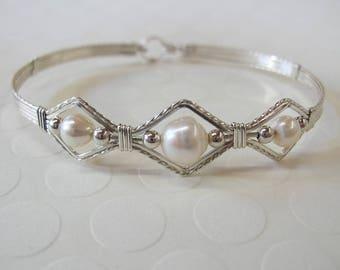 Pearl Bracelet - Wedding Bracelet - Wirewrapped Bracelet - Freshwater Pearls Sterling Silver Design - Bridal Jewelry - Silver Bracelet