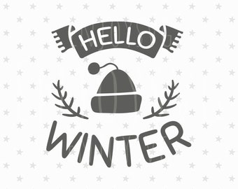 Christmas SVG Christmas Svg Files Winter SVG Files Hello winter SVG Christmas svg cut files Christmas Cutting File Silhouette Cameo Cricut