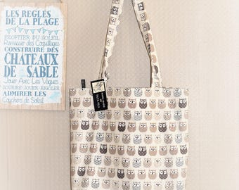 Beige owls, tote bag, canvas bag, beach bag, tote bag, with a Pocket Made in France