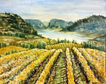 """Original Watercolor Painting, Wine Field of BC Canada, 11x14"""", 17010505"""