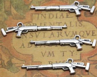 15pcs Sniper Rifle Charms Silver tone 2 sided Rifle gun Charms pendant 45x11mm ASD1716