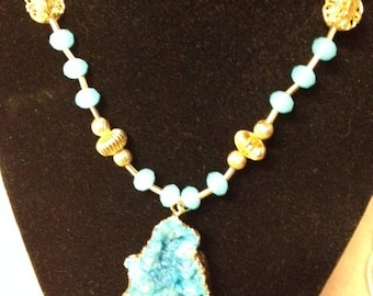 Medium Blue Druzy Agate Pendant with Metal Vintage Gold Filigree and Blue Glass Beaded Necklace