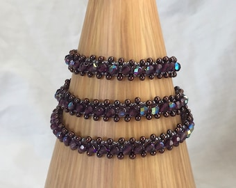 beaded bracelet beaded wrap bracelet purple seed beads metallic purple drop beads purple fire polished crystals wrap bracelet 3 times round
