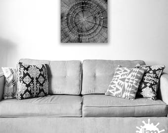 """Our Family Is a Circle / Personalized 16"""" x 16"""" Photographic Printable / Home Decor / Family Values / Tree Trunk"""
