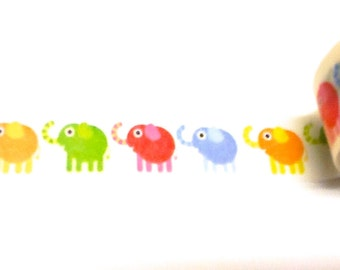 Colorful Elephant Washi Tape, Elephants, Washi Tape, Baby Shower Washi, Planner Washi Tape, Planner Tape, Scrapbook Supplies