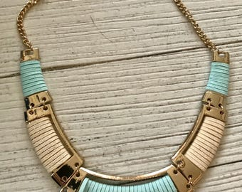 "Mint & Cream Suede Cord Hold Bib Necklace, 18"" (also has an extender)"