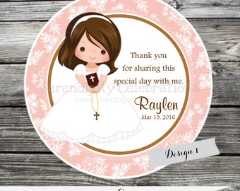 First Communion, Confirmation, Religious, Set of 12 Personalized Favor Tags, Stickers, Thank You Tag, Party Favors, Pink Brown, Lace,