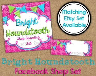 Pink Facebook Timeline Set - Houndstooth Shop Banner - Spring Timeline Cover - Profile Image - Colorful Facebook Shop Set - Shop Branding