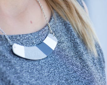 Monochrome necklace bib, Fashion necklace gift for her, Geometric statement jewelry, Statement necklace trends, Bib necklace statement