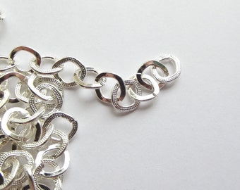 Silver plated textured link chain