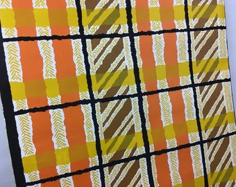 Vintage 6yd Roll VTG 1971 Mid Century Mod Contact Paper Drawer Shelf Liner Wall Adhesive Wallpaper Sticky Orange Yellow Brown Black