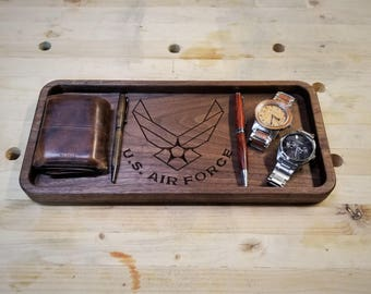 Large Valet Tray / Catchall Tray / Dump Tray Desk Organizer made from wood US Air Force Logo
