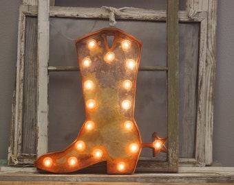 BIG Cowboy or Cowgirl Boot Marquee…Cowboy Cowgirl Family Room Gun Western