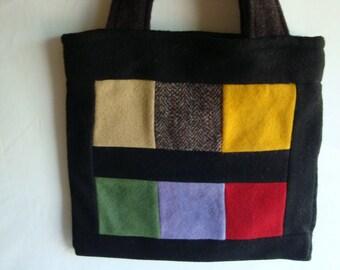 Felted wool patchwork hand bag color block tote, medium bag, black medium tote, multicolor tote, felted wool tote