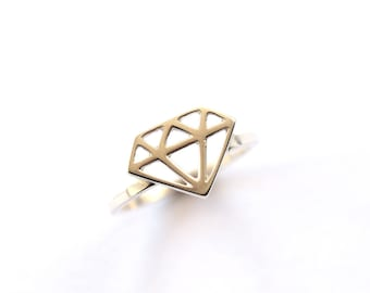 Diamond Ring, Sterling Silver Ring, Diamond Symbol Ring, Gift for Her, Ring, Handmade Silver Ring, Silver Diamond, RockCakes, Brighton