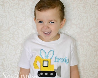 Boys Easter shirt, personalized easter, excavator shirt, tractor easter, tractor easter shirt monogram easter, Boys construction shirt