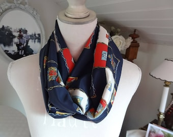 Navy Blue polyester satin Snood with patches