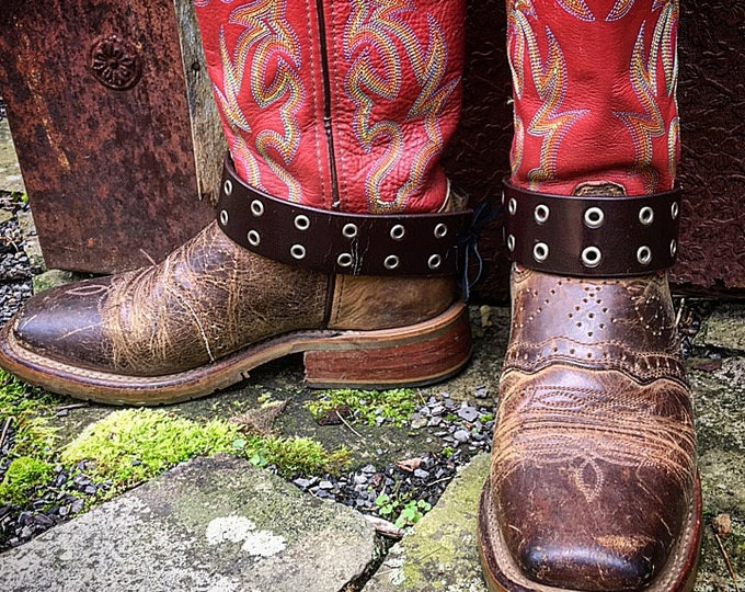 Double H Leather Boots with Distressed Leather Boot Belts, Boho Gypsy Cowgirl / Women's Size 8.5M US / Ready to Ship