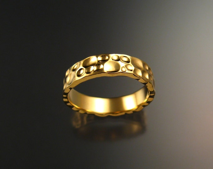 Heavy 14k Yellow Gold Moonscape Mans Wedding band Unique Handmade ring for men made to order in your size