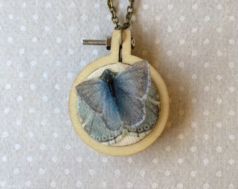 Handmade Pendant Necklace with Cotton and Silk Organza Butterfly, and Tiny Embroidery Wood Hoop - One of a Kind