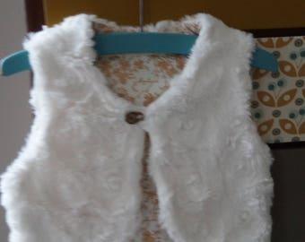 Shepherd vest, white faux fur double mustard Japanese floral motifs