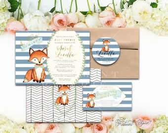 Woodland baby shower invitation -  woodland invitation - fox invitation - woodland fox invitation - freshmint paperie