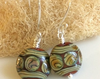 Russet Red Glass Earrings / Lampwork Glass Earrings / Red and Gold Glass / Sterling Silver Earrings