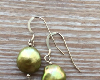 Green Fresh Water Coin Pearl and sterling silver earrings UK made