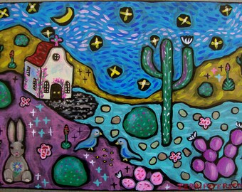Southwest Desert Folkart Landscape