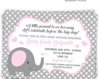 909: Cute Elephant 2 Party Invitation Or Thank You Card