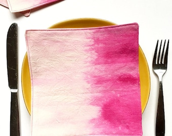 Cloth Cocktail Napkins - Dip Dyed - Pink Napkins - Hand Dyed Fabric – Wedding Linens - Wedding Gift - Bridesmaid Gift - Hostess Gift