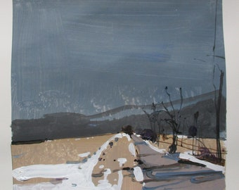 March 5, Original Winter Landscape Collage Painting on Paper, Stooshinoff