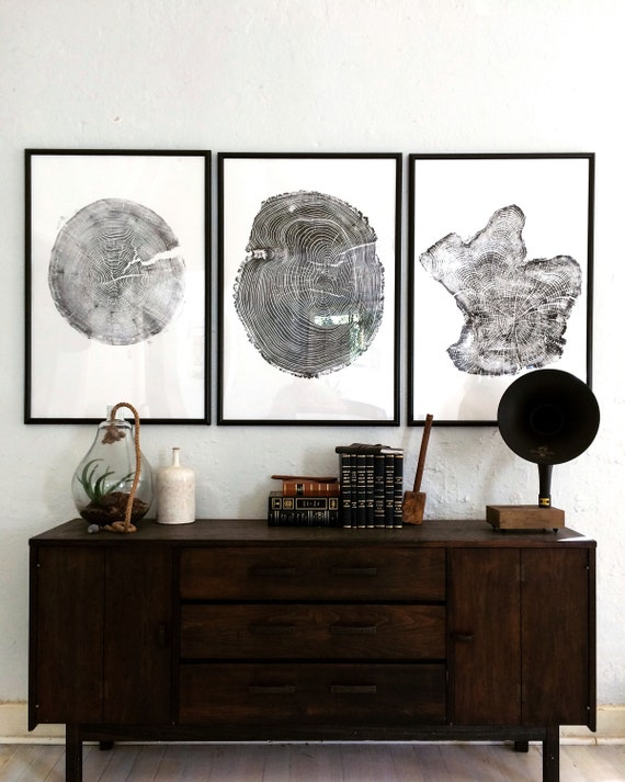 Set of 3 Large Tree Ring Prints, Tree stump prints, Tree ring print, tree ring art, triptych art set, large art prints, Fathers Day Gifts