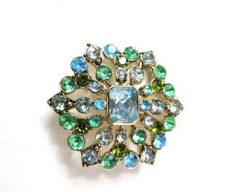 Vintage Snowflake Brooch | Vintage Liz Claiborne Snowflake Brooch Blue & Green