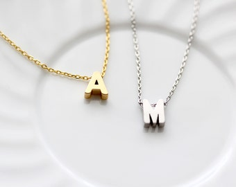Initial Necklace - Uppercase Letter Gold or Silver Initial Charm Personalized Bridesmaid Gift Wedding Minimalist Monogram Initial Necklace