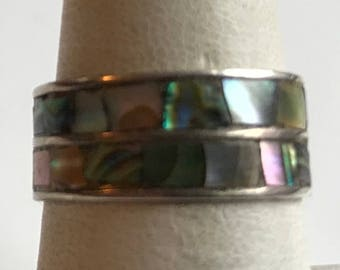 Vintage Sterling Silver Abalone Ring-Size 7 1/4