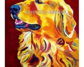 Golden Retriever, Pet Portrait, DawgArt, Dog Art, Pet Portrait Artist, Colorful Pet Portrait, Golden Retriever Art, Art Prints