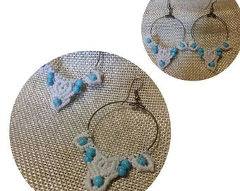 Earrings Turquoise Micromacrame Hoop